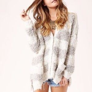 FREE PEOPLE Striped Marshmallow Ivory Cardigan XS